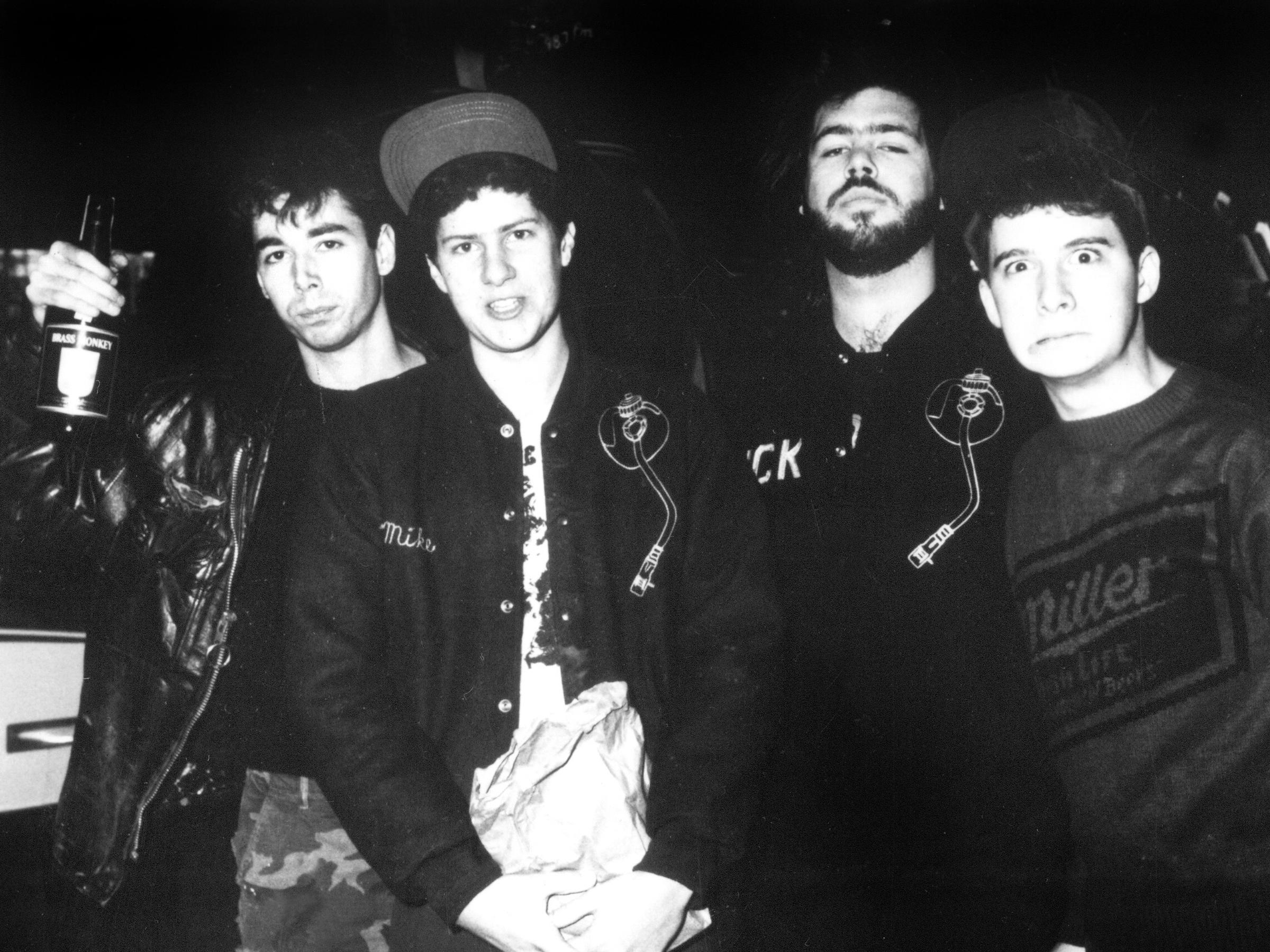 The Beastie Boys with producer Rick Rubin [beard] (1985)