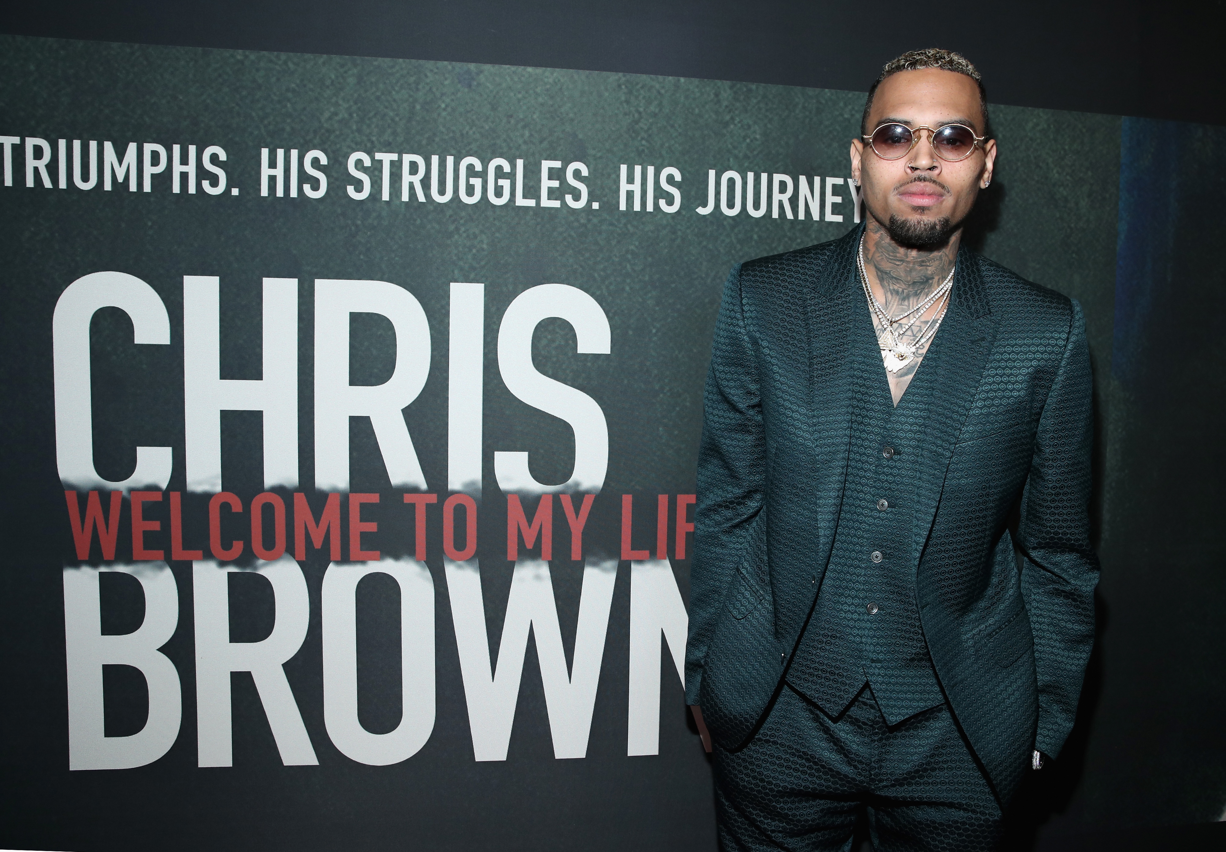 "LOS ANGELES, CA - JUNE 06: Singer Chris Brown attends the Premiere of Riveting Entertainment's ""Chris Brown: Welcome To My Life"" at L.A. LIVE on June 6, 2017 in Los Angeles, California. (Photo by Jonathan Leibson/Getty Images for Riveting Entertainment)"