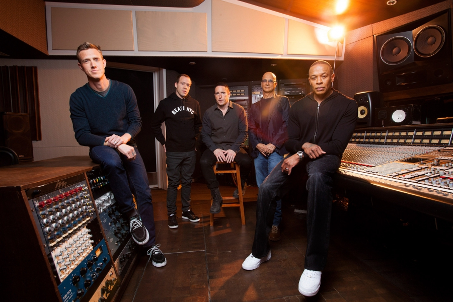 From left: Ian Rogers, who has since left Apple; Luke Wood, who leads the Beats headphones business at Apple; Trent Reznor; Jimmy Iovine; and Dr. Dre, in 2013